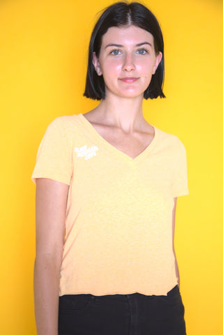 Cute Yellow V-Neck