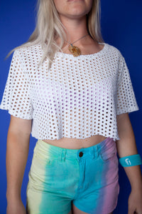 White Crop Top With Funky Holes