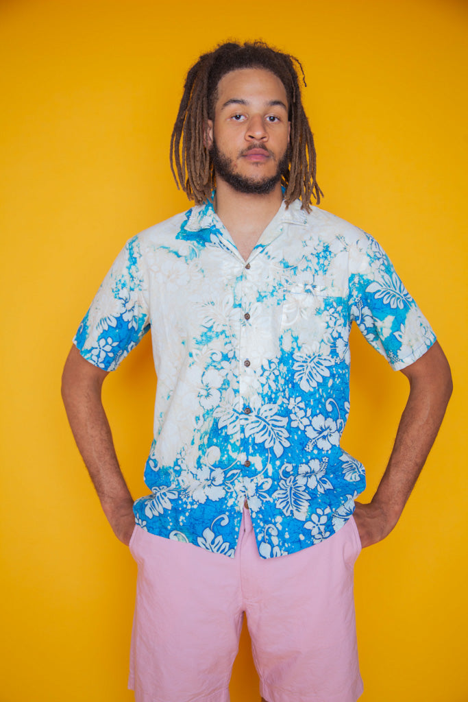 Blue Faded Hawaiian Shirt