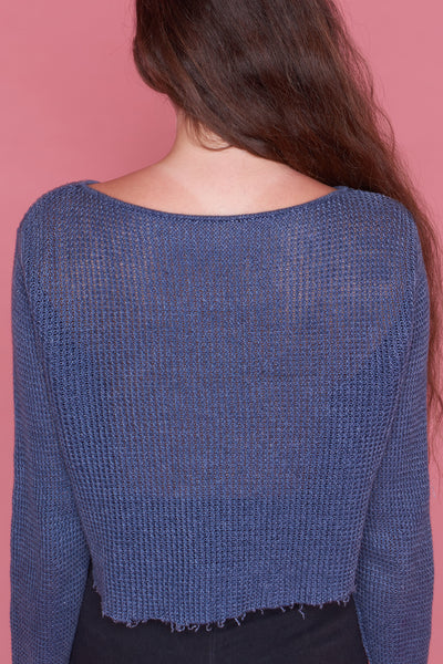 Painted Blue Cropped Sweater