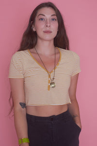Striped Yellow Crop Top
