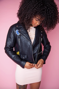Patch Filled Faux Leather Jacket