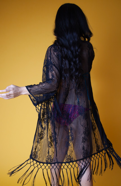 Black Lace Floral Cover-Up