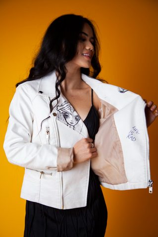 White Jacket With Hand Drawn Detail
