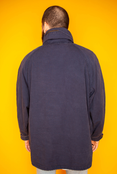 Blue Hooded Windbreaker