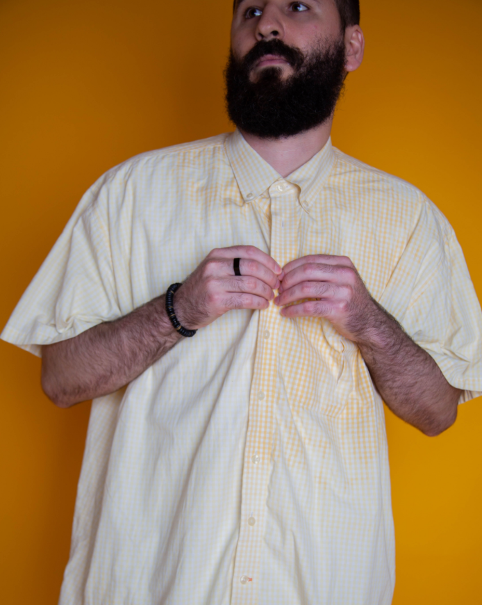 Decolorized Yellow Button Down