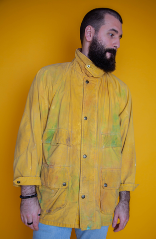 Color-Washed Yellow Rain Jacket
