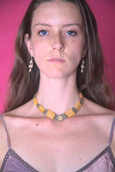 Yellow Multi-Patterned Necklace