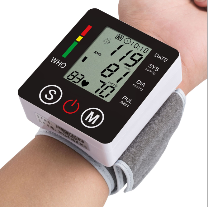 Wrist Type English Electronic Blood Pressure Monitor Automatic Blood Pressure Home Measuring Tool