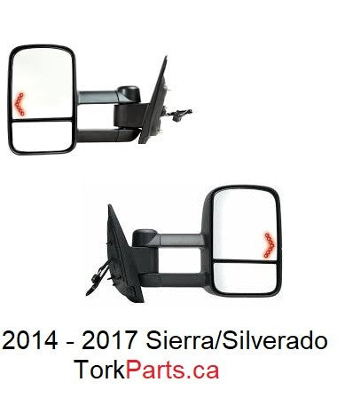 2014 - 2017 Sierra /  Silverado Tow Mirror with power, heat and turn signal - SET GM1320458 / GM1321458