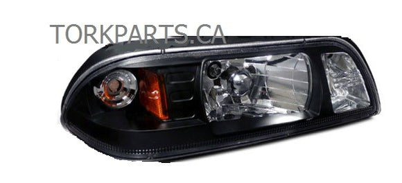 1987-93 Ford Mustang Crystal Black Euro 1-Piece Style Headlights Lamp '6351
