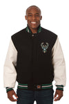 Milkwaukee Bucks Embroidered Wool and Leather Jacket