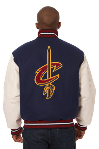 Cleveland Cavaliers Embroidered Wool and Leather Jacket