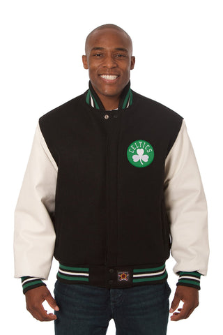 Boston Celtics Embroidered Wool and Leather Jacket