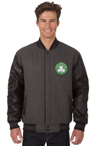 Boston Celtics Reversible Wool and Leather Jacket (Front and Back Logos)