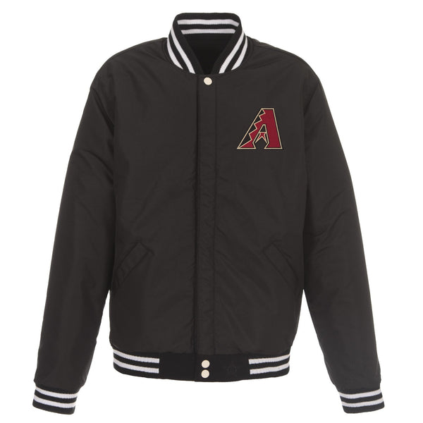 Arizona Diamondbacks Reversible Fleece Jacket with Faux Leather Sleeves