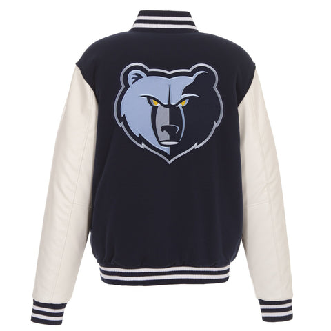 Memphis Grizzlies Reversible Fleece and Faux Leather Sleeves Jacket (Front and Back Logos)