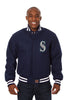 SEATTLE MARINERS WOOL JACKET W/ HANDCRAFTED LEATHER LOGOS - NAVY