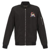 MIAMI MARLINS JH DESIGN LIGHTWEIGHT NYLON BOMBER JACKET – BLACK
