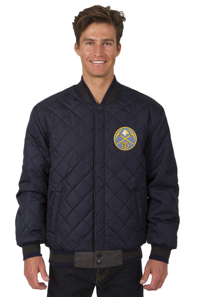 Denver Nuggets Reversible Wool and Leather Jacket (Front Logos Only)