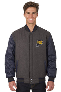 Indiana Pacers Reversible Wool and Leather Jacket (Front Logos Only)