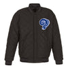 LOS ANGELES RAMS WOOL & LEATHER THROWBACK REVERSIBLE JACKET - CHARCOAL