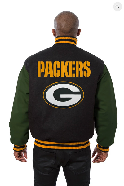 Green Bay Packers All Wool Two-Toned Jacket with Back Logo