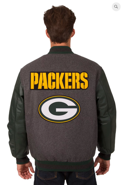 Green Bay Packers Reversible Wool and Leather Varsity Jacket with Back Logo
