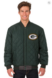 Green Bay Packers Reversible Wool & Leather Varsity Jacket