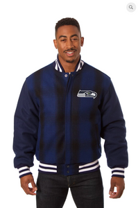 Seattle Seahawks All Wool Plaid Jacket with Back Logo
