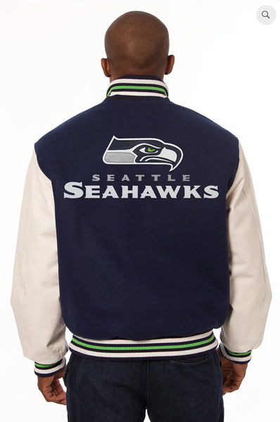 Seattle Seahawks Wool and Leather Varsity Jacket
