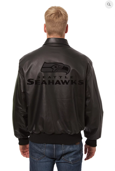 Seattle Seahawks Hand Crafted Leather Tonal Jacket