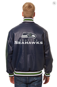 Seattle Seahawks Hand Crafted Leather Solid Team Jacket