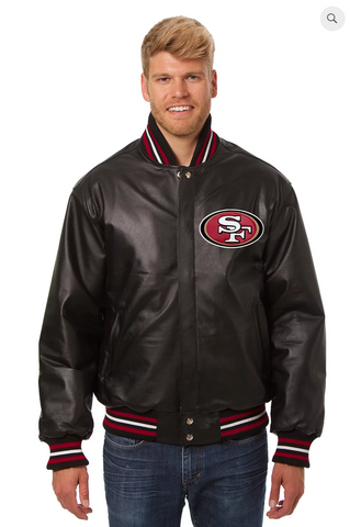 San Francisco 49ers Hand Crafted Leather Solid Team Jacket
