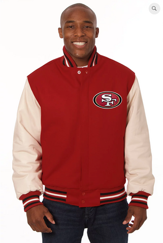 San Francisco 49ers Wool & Leather Varsity Jacket w/ Back Logo