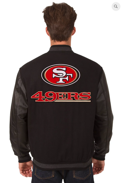 San Francisco 49ers Reversible Varsity Jacket with Back Logo