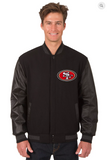 San Francisco 49ers Reversible Wool & Leather Varsity Jacket