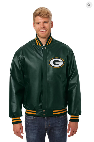Greenbay Packers Hand Crafted Leather Solid Team Jacket