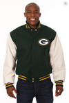 Green Bay Packers Wool and Leather Varsity Jacket