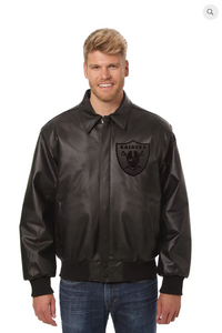 Oakland Raiders Hand Crafted Leather Tonal Jacket