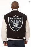 Oakland Raiders Wool and Leather Varsity Jacket with Back Logo