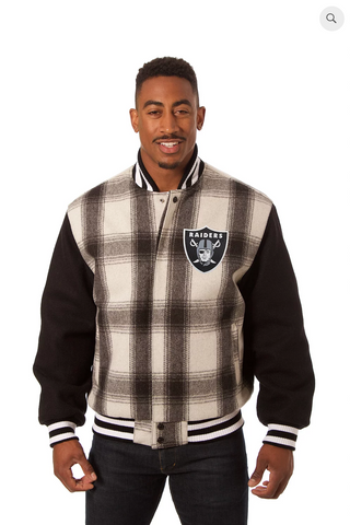 Oakland Raiders All Wool Plaid Jacket with Back Logo