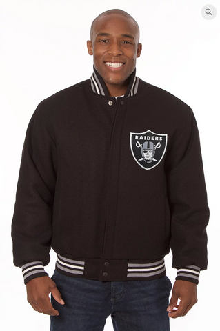 Oakland Raiders All Wool Varsity Jacket with Back Logo