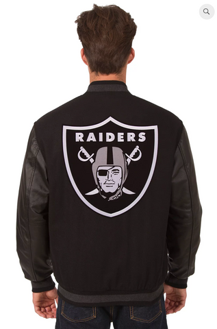 Oakland Raiders Wool & Leather Reversible Varsity Jacket with Back Logo