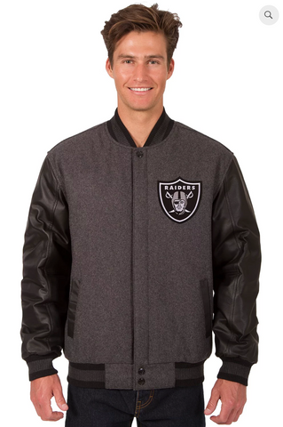 Oakland Raiders Charcoal Wool & Leather Reversible Varsity Jacket with Back Logo