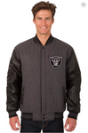 Oakland Raiders Charcoal Wool & Leather Reversible Varsity Jacket w/ Front Logo