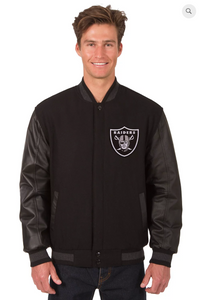 Oakland Raiders Wool & Leather Reversible Varsity Jacket with Front Logo