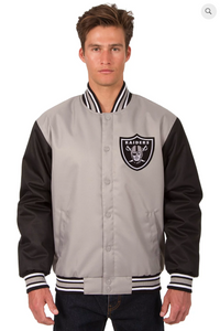 Oakland Raiders Poly-Twill Varsity Jacket with Front Logo