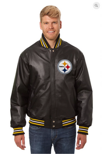 Pittsburgh Steelers Hand Crafted Leather Solid Team Jacket