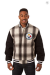 Pittsburgh Steelers All Wool Plaid Jacket with Back Logo